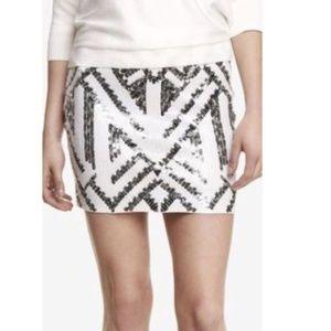 EXPRESS Black and White Tribal Sequin Mini Skirt